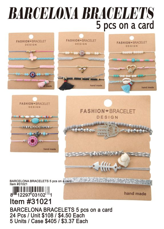 Barcelona Bracelets 5 Pcs On A Card - 24 Pieces Unit