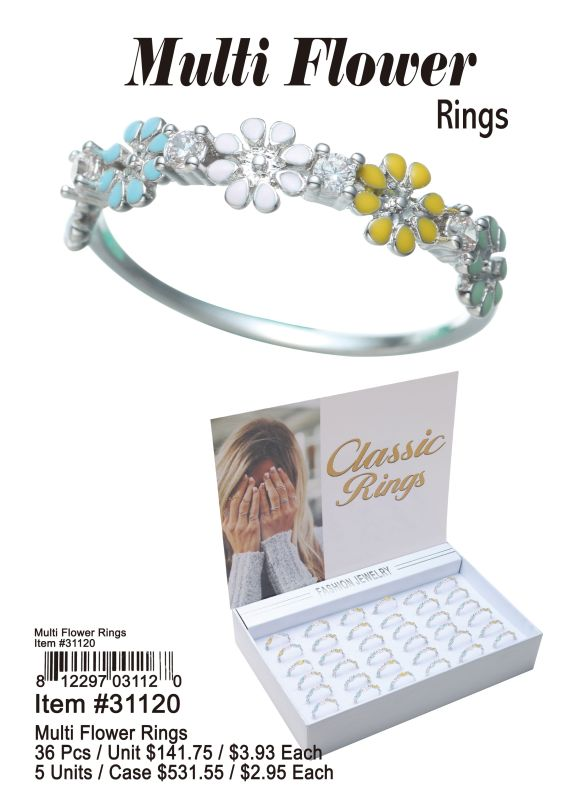 Multi Flower Rings - 36 Pieces Unit