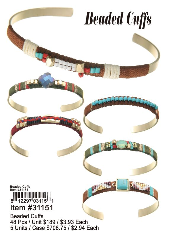 Beaded Cuffs - 48 Pieces Unit