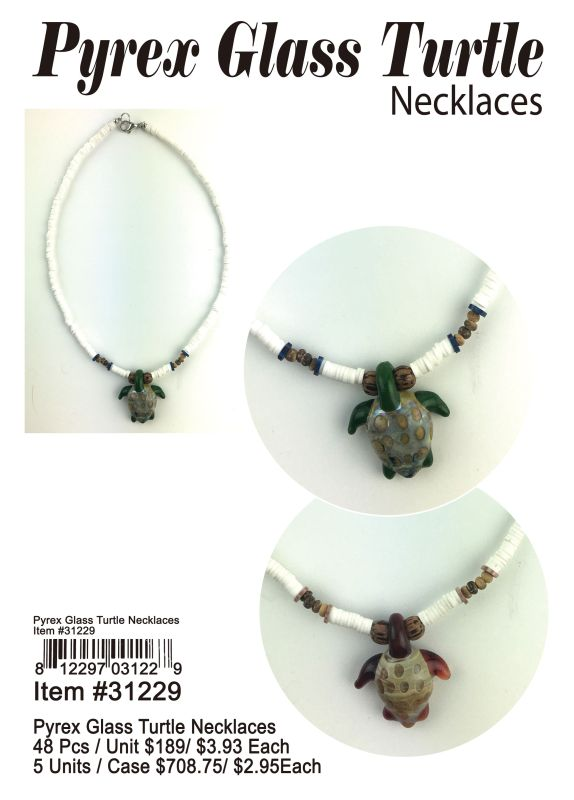 Pyrex Glass Turtle Necklaces Wholesale