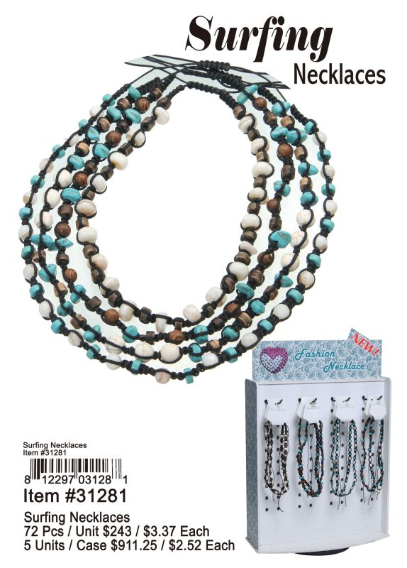 Surfing Necklaces - 72 Pieces Unit