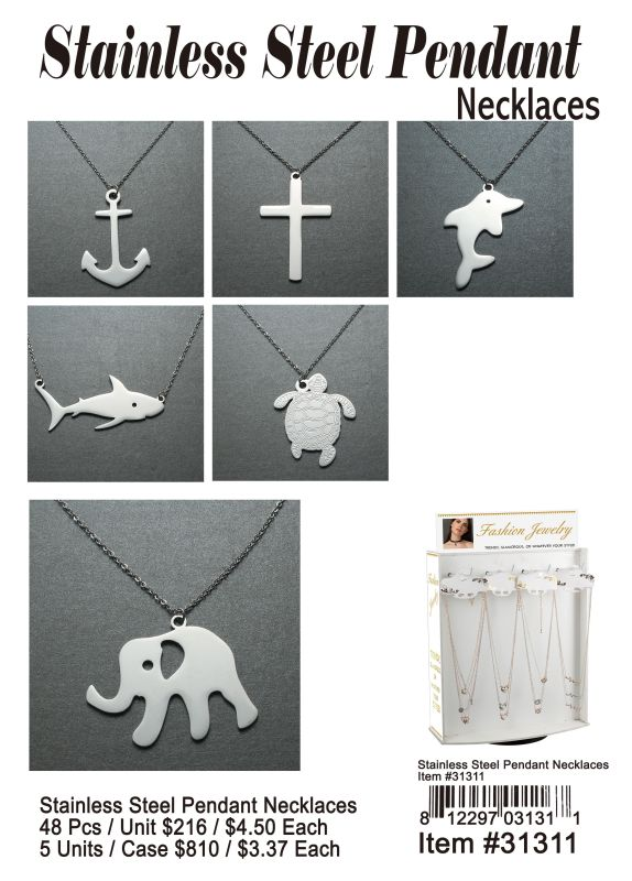 Stainless Steel Pendant Necklaces - 48 Pieces Unit