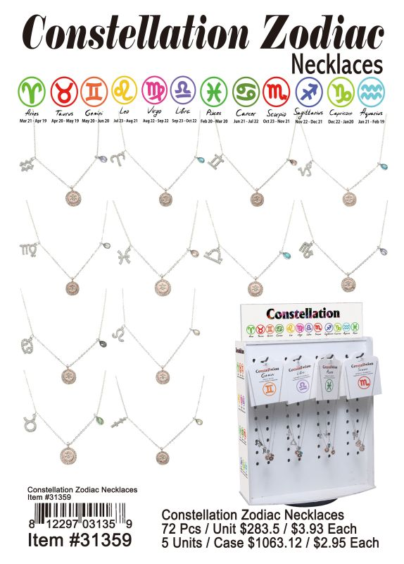 Constellation Zodiac Necklaces Wholesale