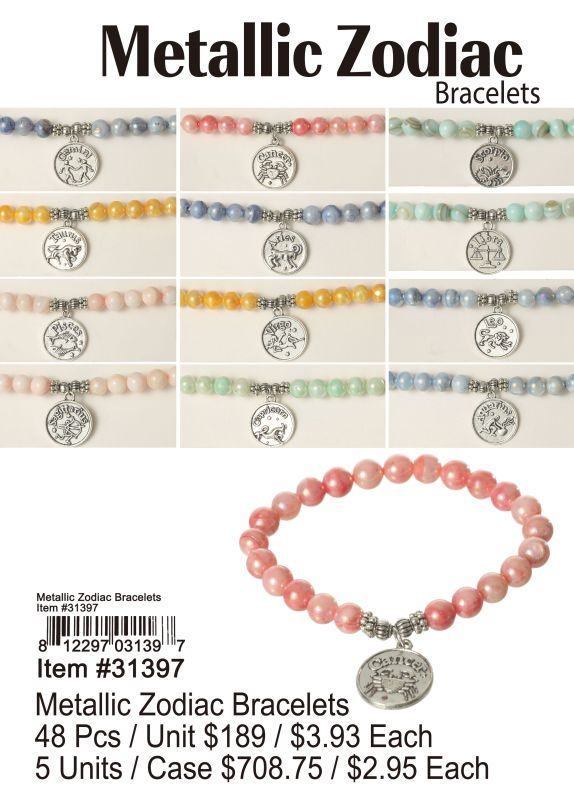 Metallic Zodiac Bracelets - 48 Pieces Unit