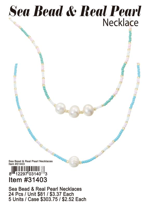 Sea Bead & Real Pearl Necklaces - 24 Pieces Unit