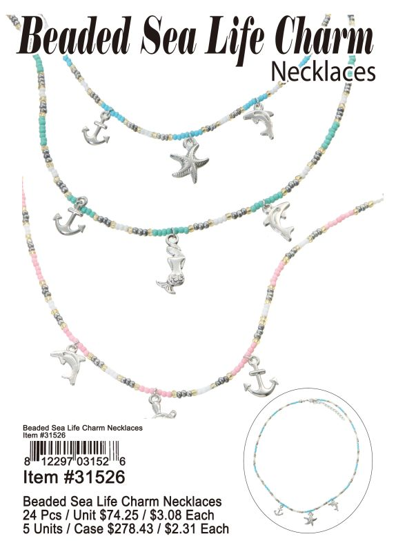 Beaded Sea Life Charm Necklaces Wholesale
