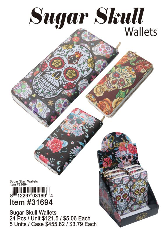 Suger Skull Wallets - 24 Pieces Unit