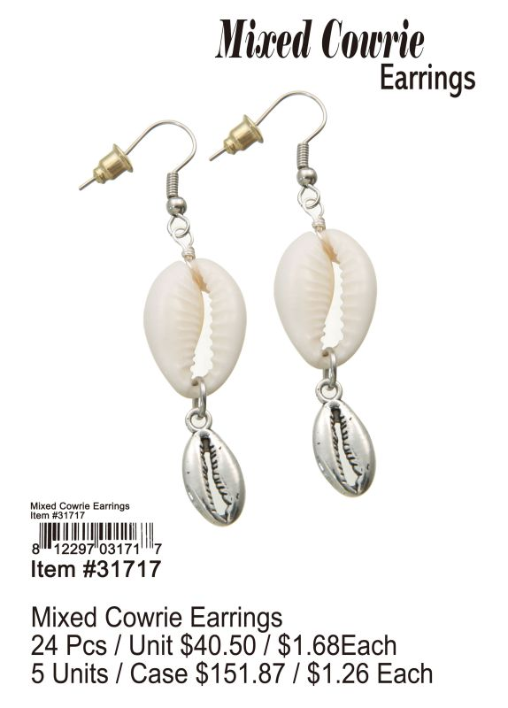 Mixed Cowrie Earrings - 24 Pieces Unit
