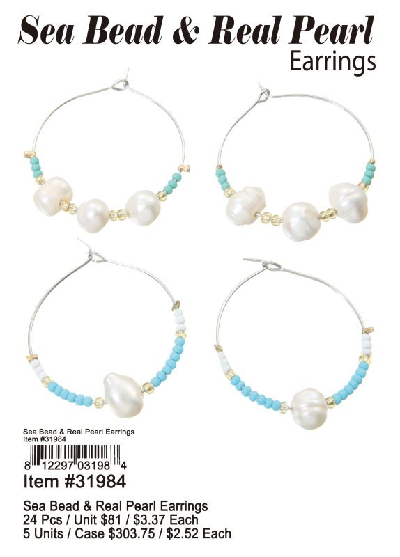 Sea Bead & Real Pearl Earrings - 24 Pieces Unit