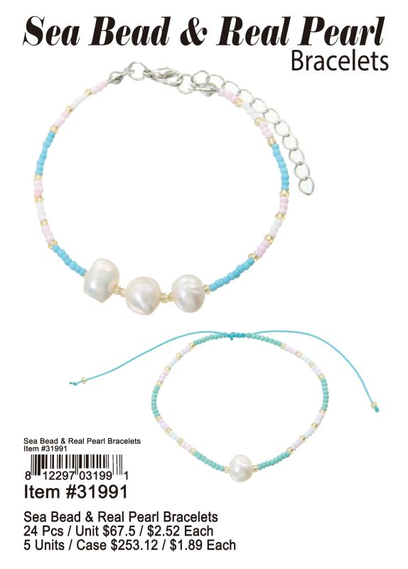 Sea Bead & Real Pearl Bracelets - 24 Pieces Unit