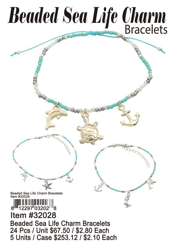 Beaded Sea Life Charm Bracelets - 24 Pieces Unit