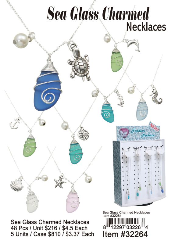 Sea Glass Charmed Neckalce - 48 Pieces Unit