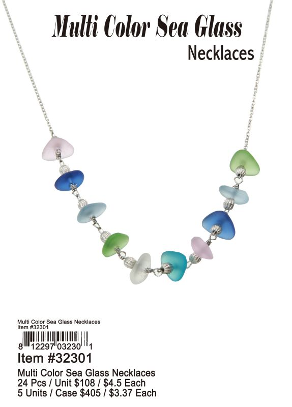 Multi Color Sea Glass Necklace - 24 Pieces Unit