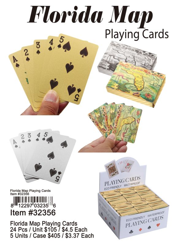 Florida Map Playing Cards - 24 Pieces Unit