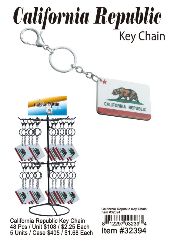 California Republic Key Chain - 48 Pieces Unit