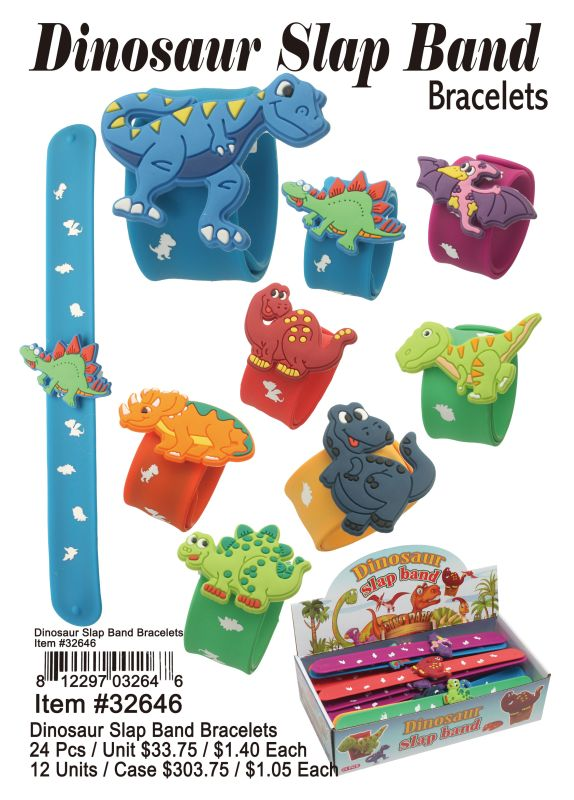 Dinosaur Slap Band Bracelets - 24 Pieces Unit