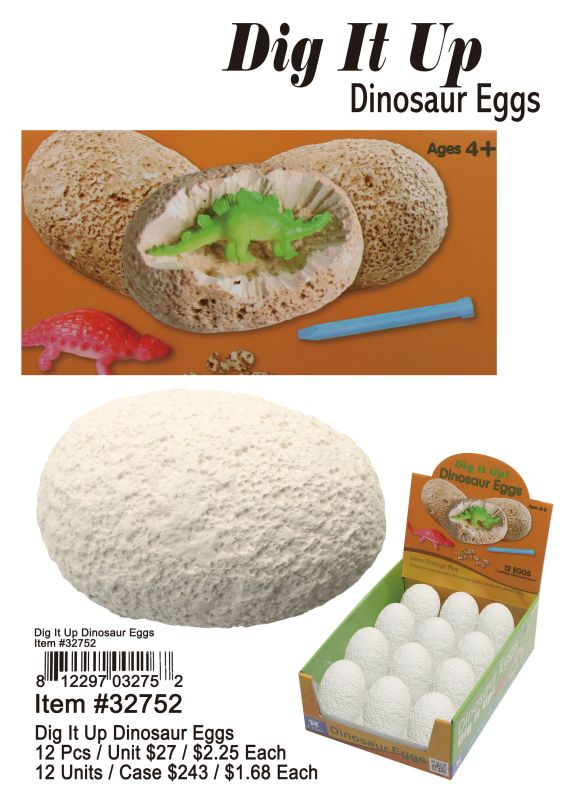 Dig It Up Dinosaur Eggs - 12 Pieces Unit