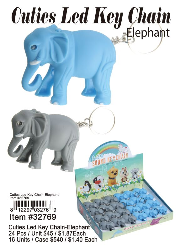 Cutie Led Key Chains-Elephant - 24 Pieces Unit