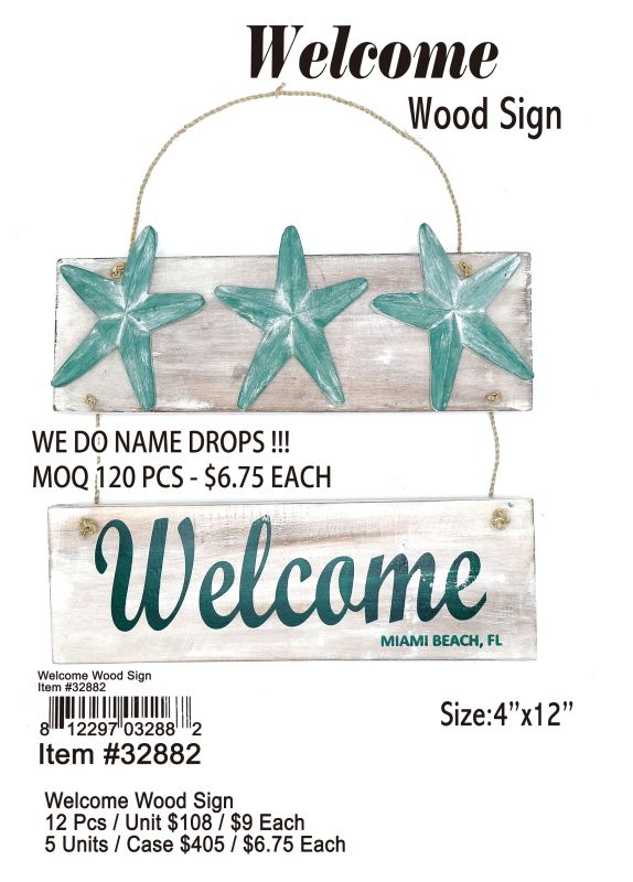 Welcome Wood Sign - 12 Pieces Unit