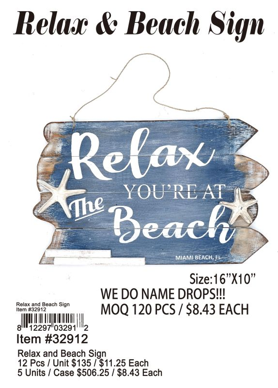 Relax And Beach Sign - 12 Pieces Unit