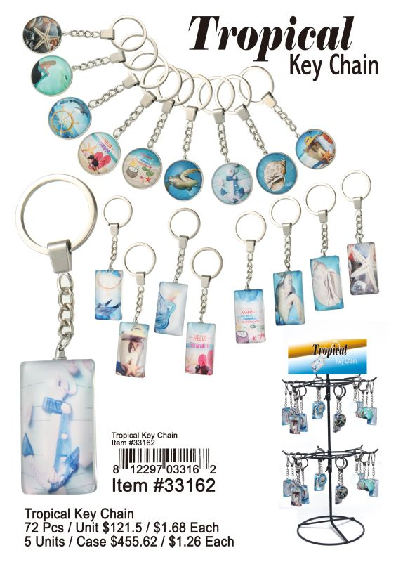 Tropical Key Chain - 72 Pieces Unit