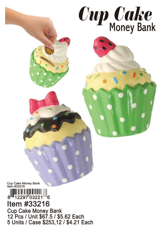 Cup Cake Money Bank - 12 Pieces Unit