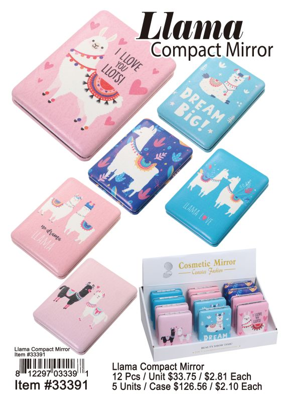 Llama Compact Mirror - 12 Pieces Unit