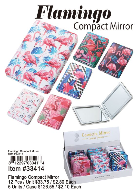 Flamingo Compact Mirror - 12 Pieces Unit