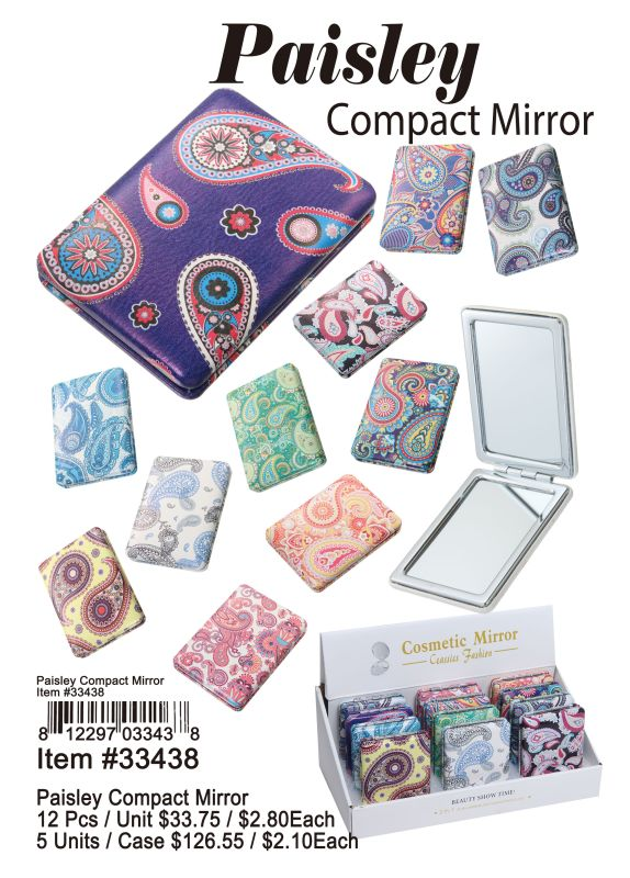Paisley Compact Mirror - 12 Pieces Unit