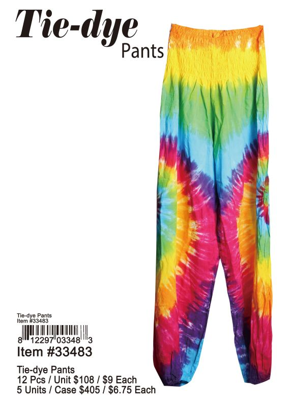 Tie-Dye Pants - 12 Pieces Unit
