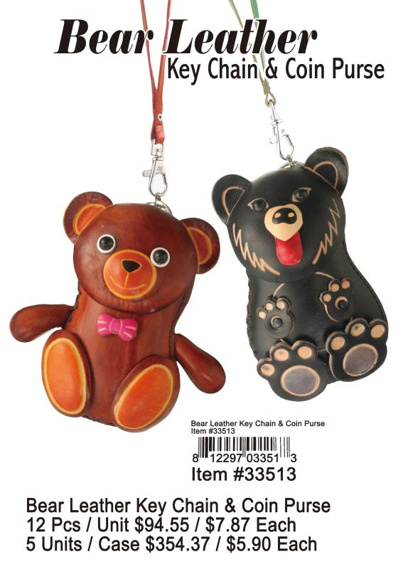 Bear Leather Key Chain & Coin Purse - 12 Pieces Unit