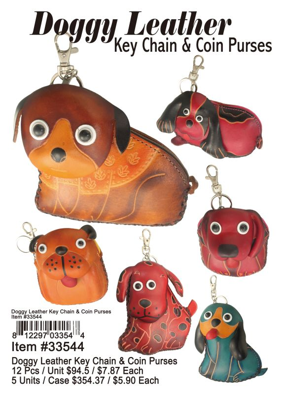 Doggy Leather Key Chain & Coin Purse - 12 Pieces Unit