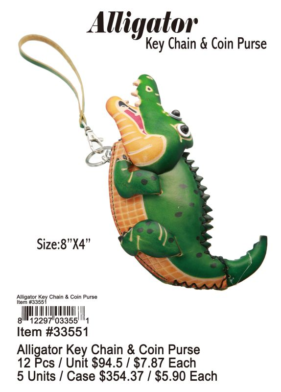 Alligator Keychain& Coin Purse - 12 Pieces Unit
