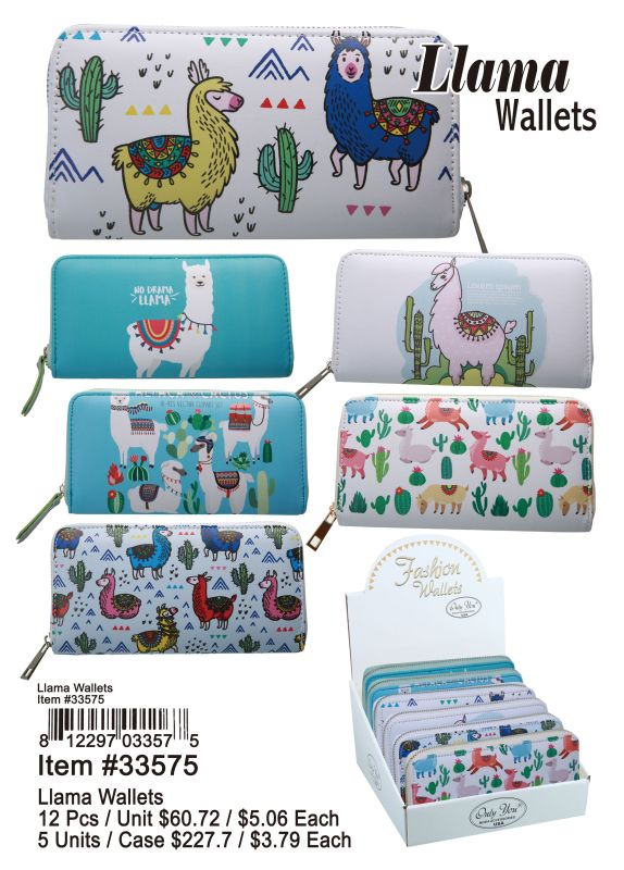 Llama Wallets - 12 Pieces Unit