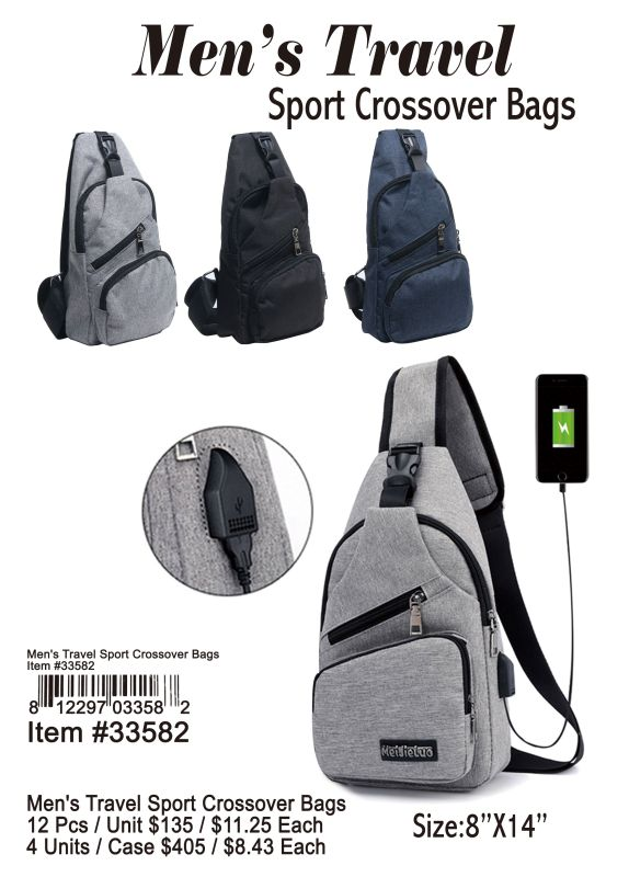 Mens Travel Sport Crossover Bags - 12 Pieces Unit