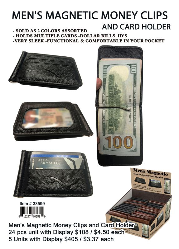 Mens Magnetic Money Clips And Card Holder - 24 Pieces Unit