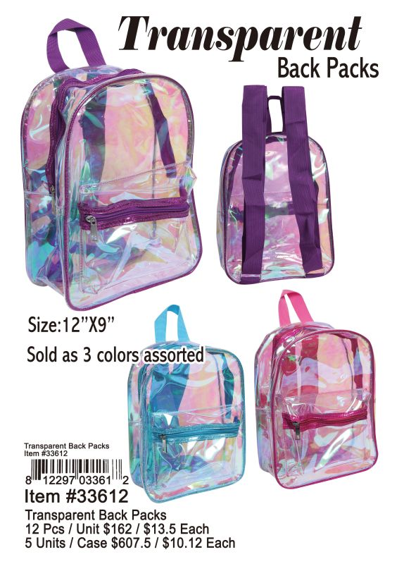 Transparent Back Packs - 12 Pieces Unit