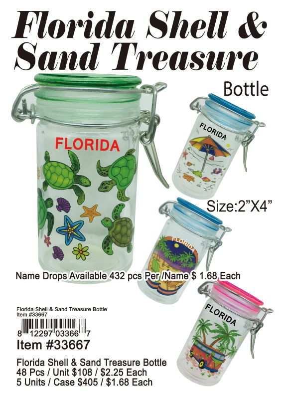 Florida Shell&Sand Treasure Bottle - 48 Pieces Unit