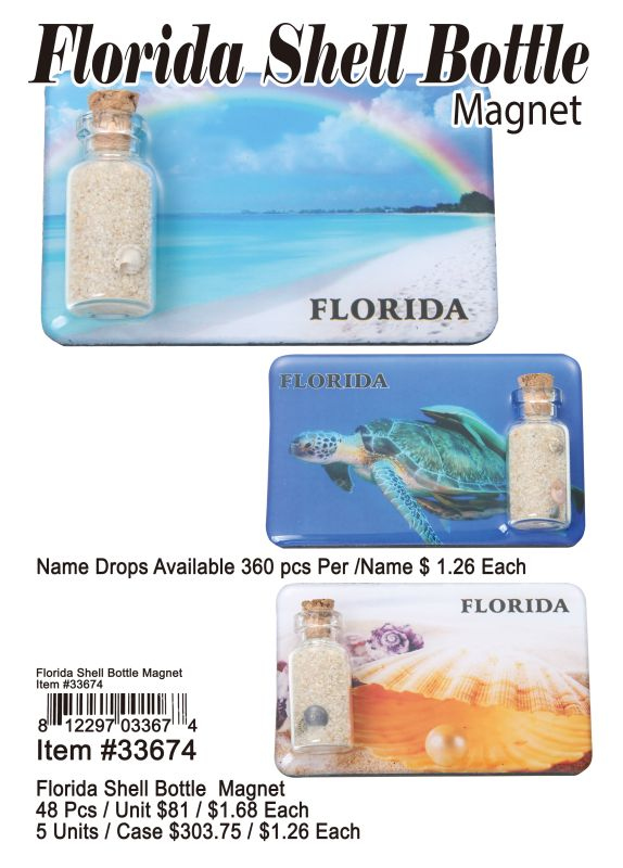 Florida Shell Bottle Magnet - 48 Pieces Unit