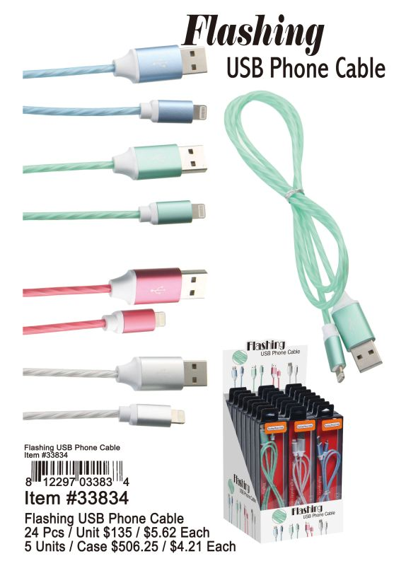 Flashing USB Phone Cable Wholesale