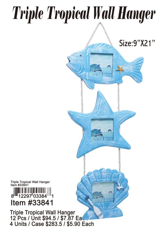 Triple Tropical Wall Hanger - 12 Pieces Unit