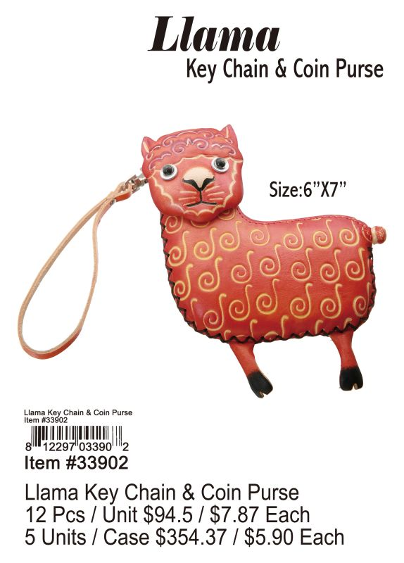 Llama Key Chain &Coin Purse - 12 Pieces Unit