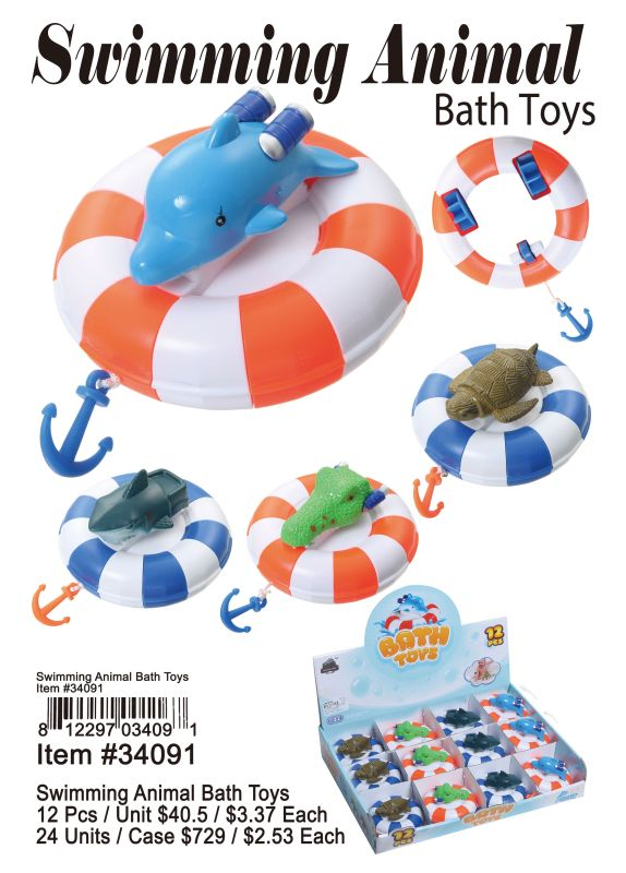 Swimming Animal Bath Toys - 12 Pieces Unit
