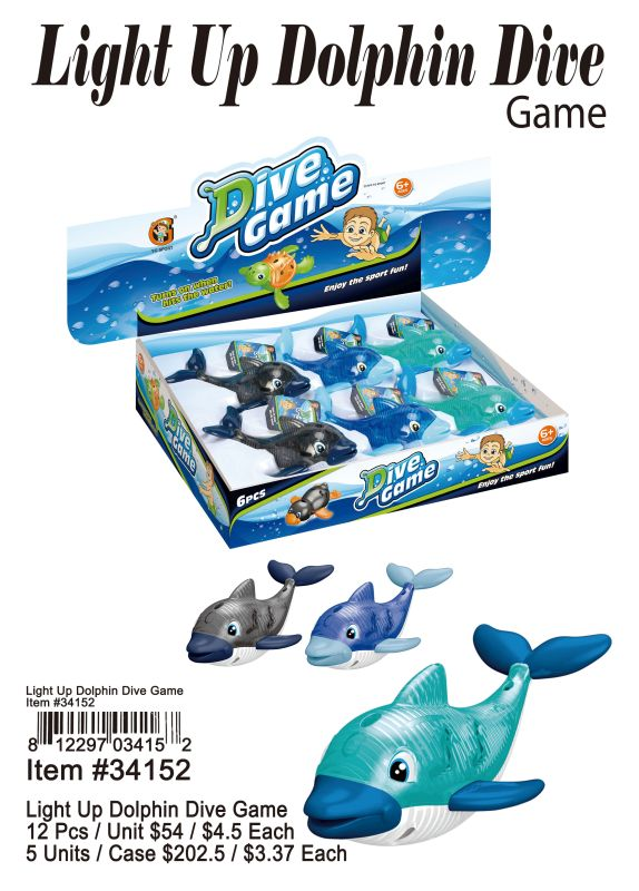 Light Up Dolphin Dive Game - 12 Pieces Unit