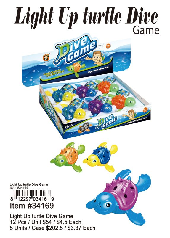 Light Up Turtle Dive Up - 12 Pieces Unit