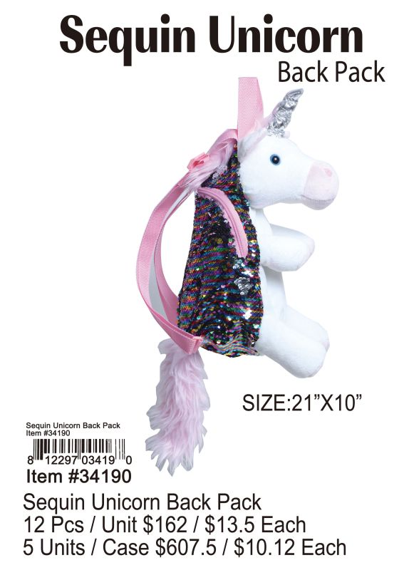 Sequin Unicorn Back Bag - 12 Pieces Unit