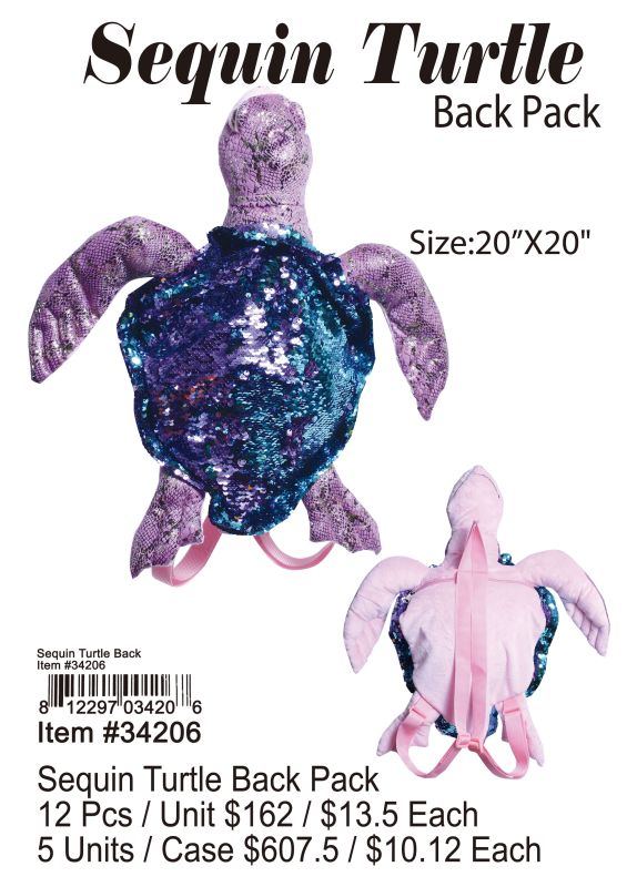 Sequin Turtle Back Pack - 12 Pieces Unit