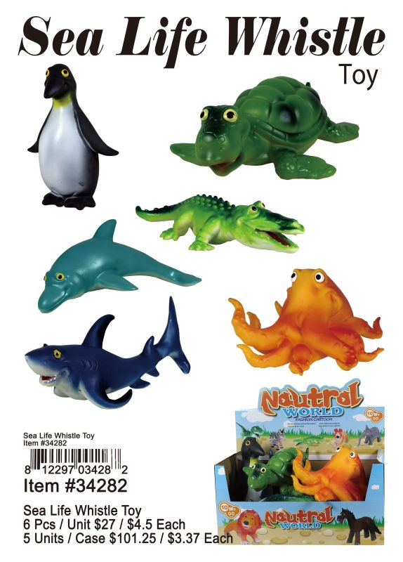 Sea Life Whistle Toy - 6 Pieces Unit