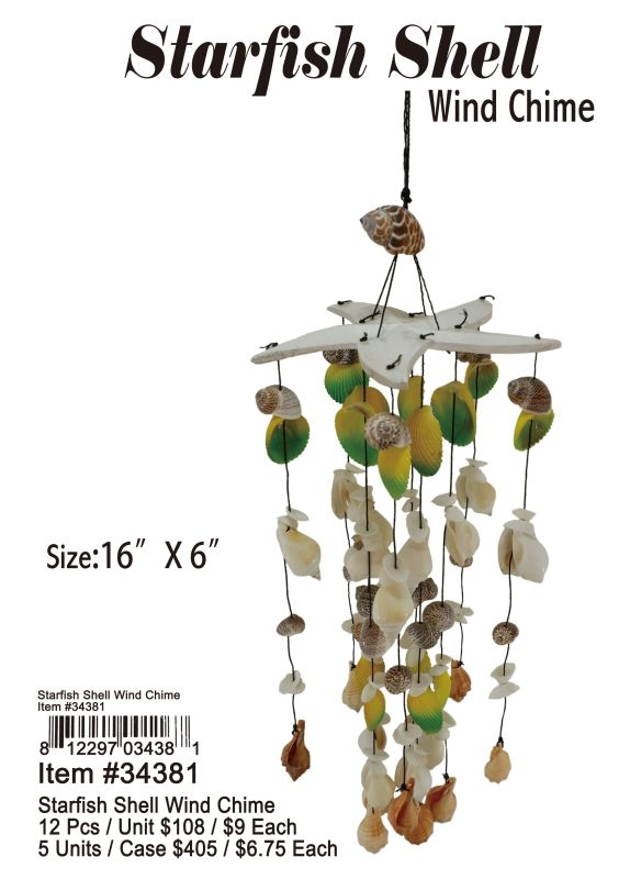 Starfish Shell Wind Chime-2 - 12 Pieces Unit