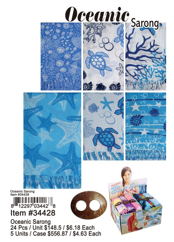 Oceanic Sarong - 24 Pieces Unit
